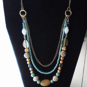 Handmade Turquoise & Labordite Bohemian Necklace.